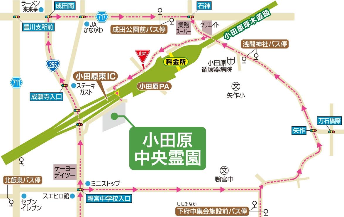 バス停の位置と車での経路map